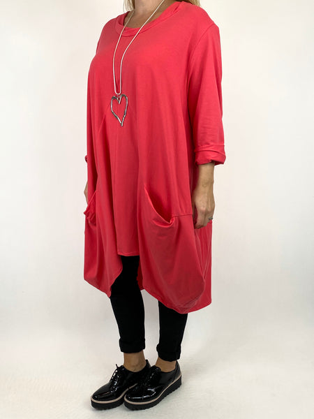 Lagenlook Ada Parachute Dress in Coral Pink. code 91048 - Lagenlook Clothing UK