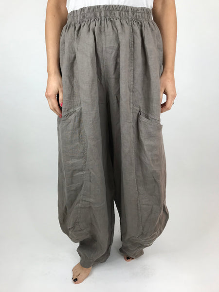 Lagenlook Alice wide Leg Linen Trousers in Mocha.code 4758