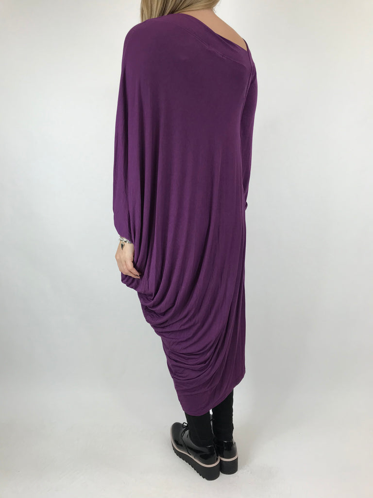 Lagenlook Quirky Angled Jersey Tunic In Purple . code 9941
