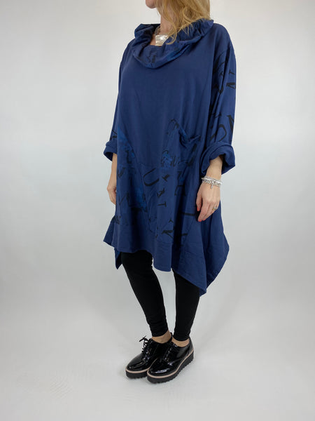 Lagenlook cowl sweatshirt 30+ plus in Navy . code 10256