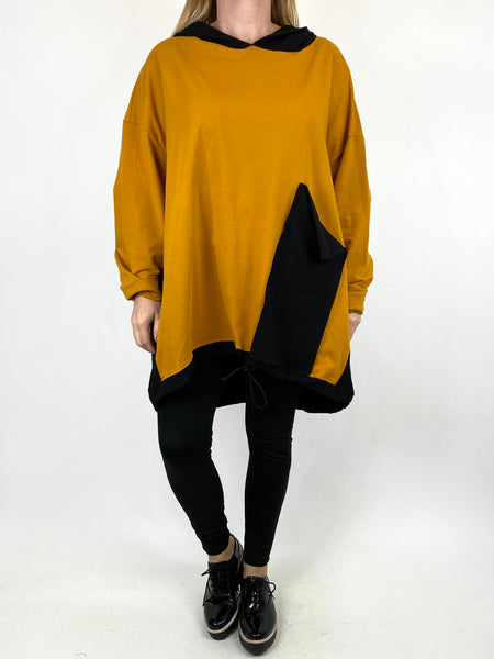 Lagenlook Kate Pocket Hood Top in Mustard. code 911488 - Lagenlook Clothing UK