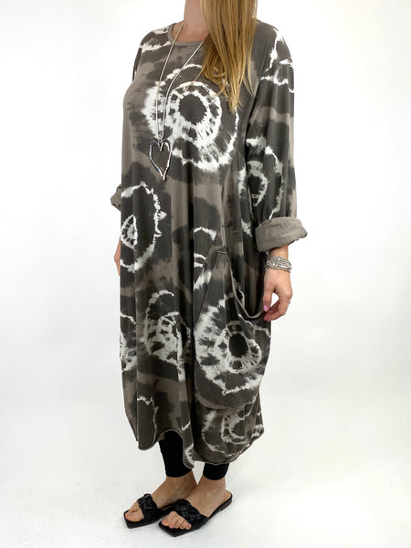 Lagenlook Celeste Tie-dye Side Pocket Tunic in Mocha.code 9904 - Lagenlook Clothing UK