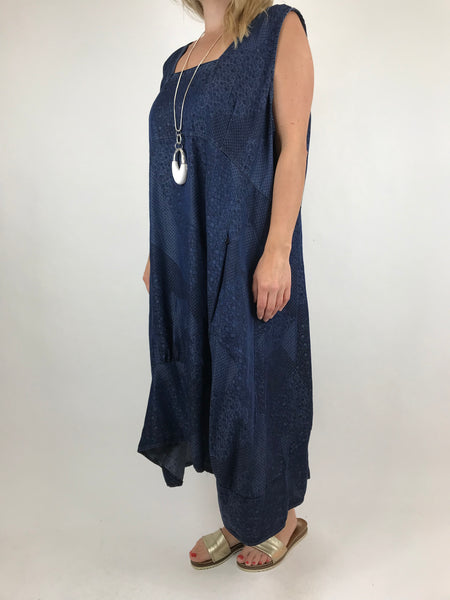 Lagenlook Square neck Long Printed Tunic in Dark Denim . code 5743