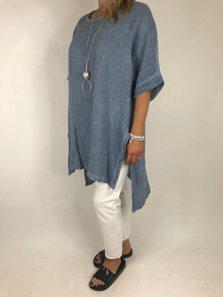 Lagenlook Alto Cotton Top in Denim Blue. code 5912