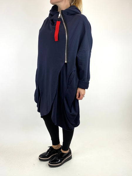Lagenlook Terri Cocoon Jacket in Navy. code 91168