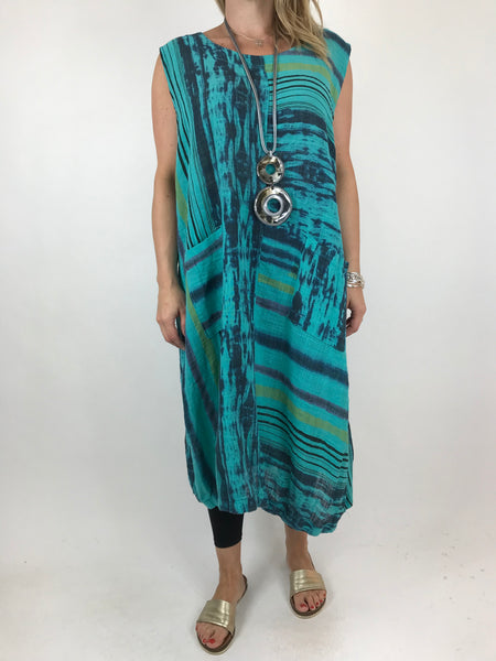 Lagenlook New Age Tie Dye tunic in Jade. code 90947