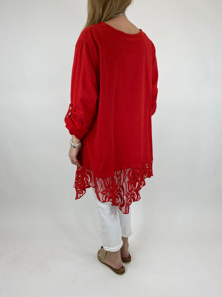 Lagenlook Alice Lace Hem Top in Red. Code 922011