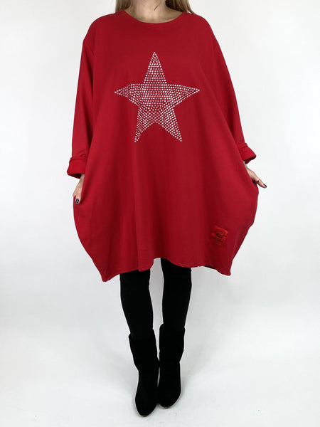 Lagenlook Stud Star Sweatshirt Top in Red. code 91199 - Lagenlook Clothing UK