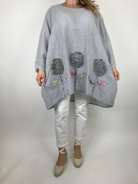 Lagenlook Dalia Flower hem in Pale Grey . Code 90969