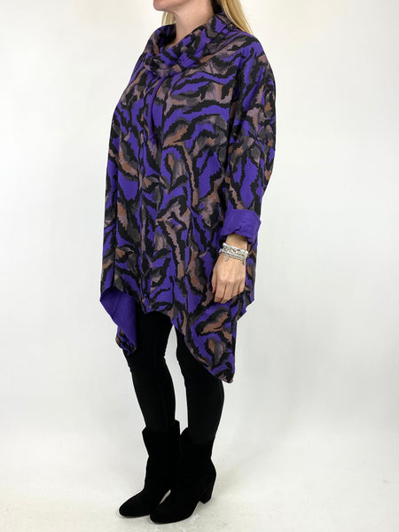 Lagenlook Animal Print Cowl Top in Purple. code 50002 - Lagenlook Clothing UK