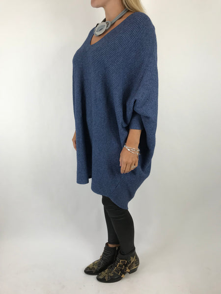 Lagenlook Bamford V-Neck Jumper in Denim . code 5418