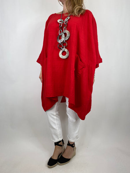 Lagenlook Maya Summer Top in Red. code 8365