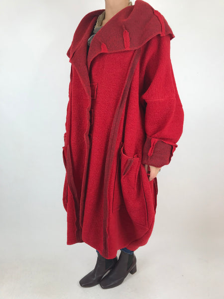 Lagenlook Rea Boho Wool Blend Coat in Red. code 1711