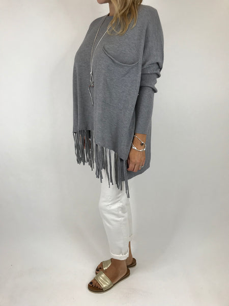 Lagenlook Tibi Tassel Knit Jumper in Mid Grey.  Code 5373
