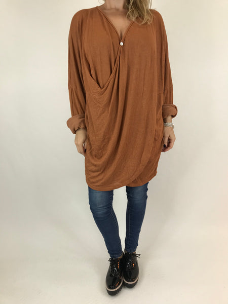 Lagenlook Katie Cross-over Button Jumper in Rust. code 2093
