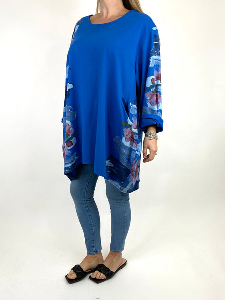 Lagenlook Hetty Flower Top in Royal Blue. code 90646 - Lagenlook Clothing UK