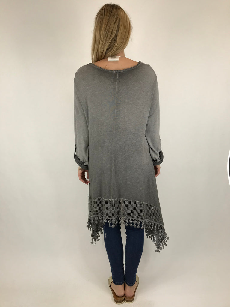 Lagenlook Bea Cotton Wash Colour Jumper in Charcoal. code 5981