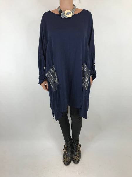 Lagenlook Made In Italy Lucy Top in Navy. code 7288