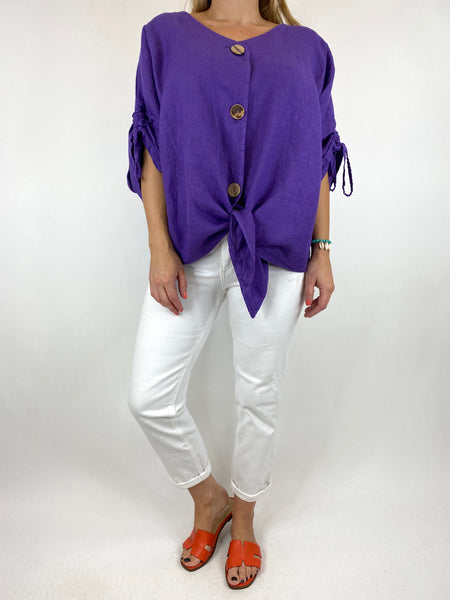Lagenlook Wexford Button Linen Tie top Jacket in Purple. code 1279