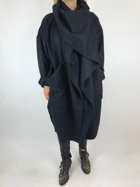 Lagenlook Verity Quirky Wrap Snood Plus Size in Navy. code 5554