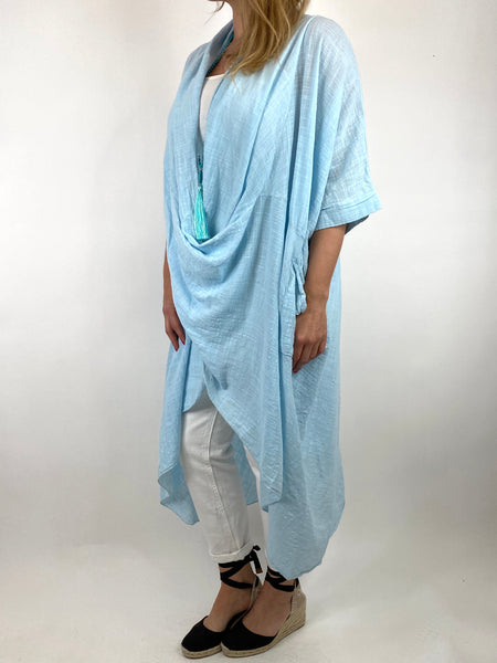 Lagenlook Cotton Wrap Dress Top in Sky. code 8307