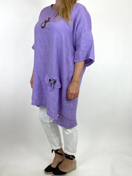 Lagenlook Bea Linen Top In Lilac. code 9782