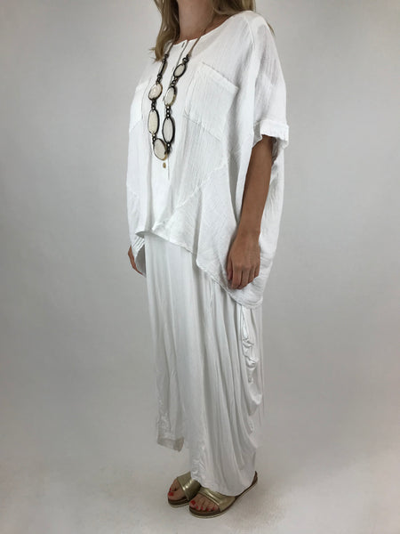 Lagenlook suzie button summer Top in White. code 01065