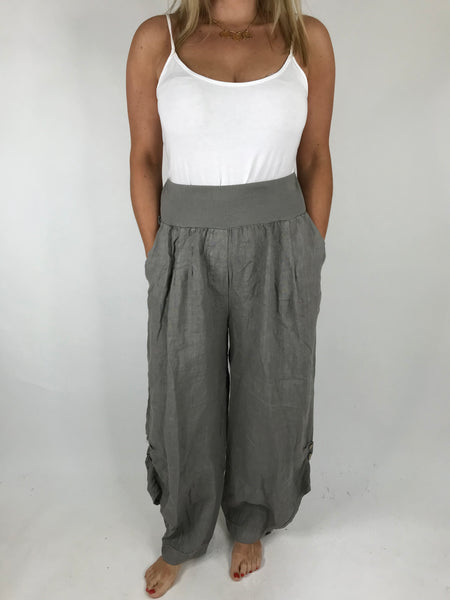 Lagenlook Hetty Button Linen Trousers in Mocha. code 5028