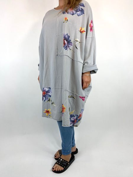 Lagenlook Lilly Flower Patch Sweatshirt in Pale Grey. code 0069