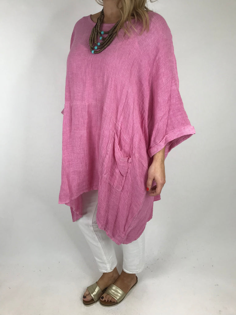 Lagenlook Oreti Cheesecloth Linen Poncho in Fuchsia Pink. code 561