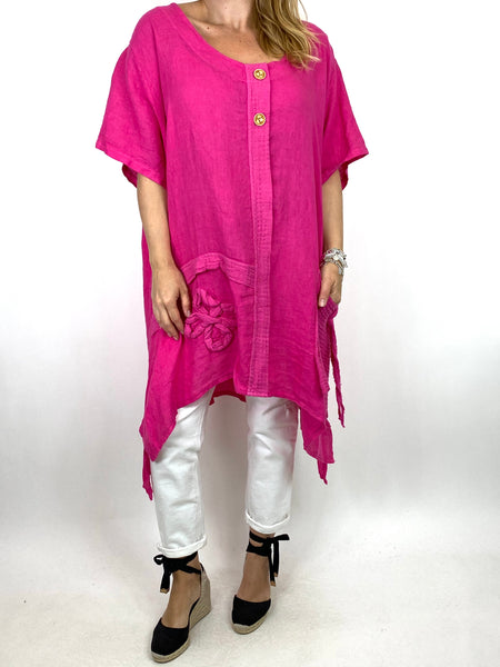 Lagenlook Tara 2 Button Linen Waffle Top in Fuchsia .code 91085 - Lagenlook Clothing UK