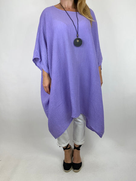Lagenlook Nancy Cotton Waffle Necklace Top in Lilac. Code 8550 - Lagenlook Clothing UK