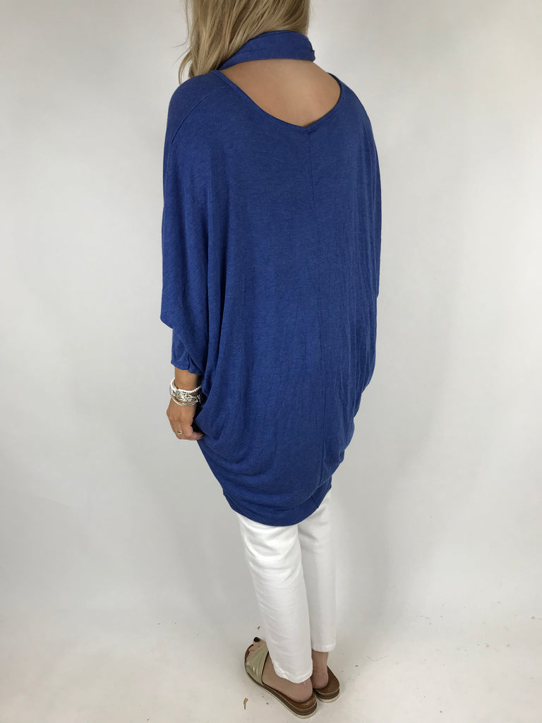 Lagenlook Plain Scarf Tunic in Royal Blue . code 1733