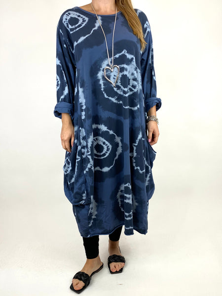 Lagenlook Celeste Tie-dye Side Pocket Tunic in Denim .code 9904 - Lagenlook Clothing UK
