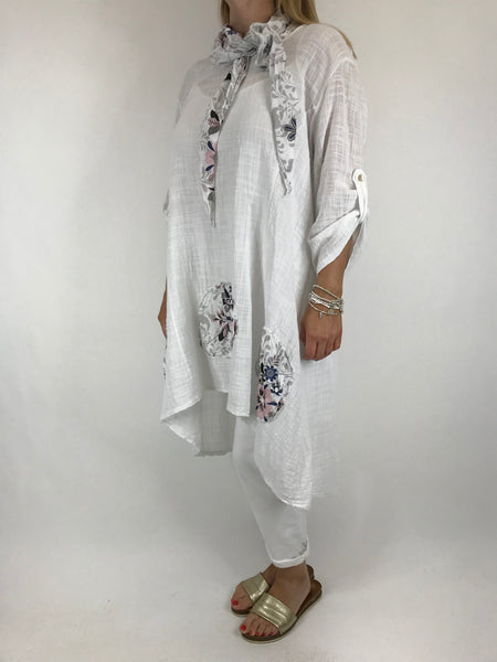Lagenlook Scarf Flower Top in White. code 5700