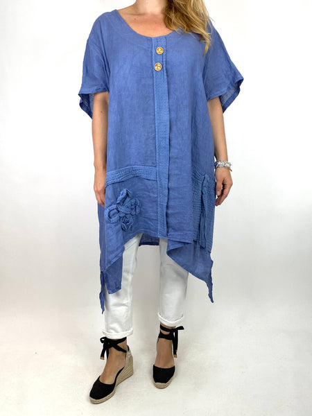 Lagenlook Tara 2 Button Linen Waffle Top in Denim .code 91085