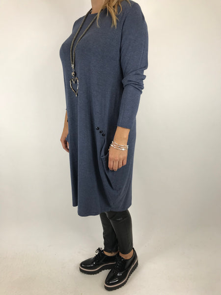 Lagenlook Milly Knitted Tunic in Denim. code 5520
