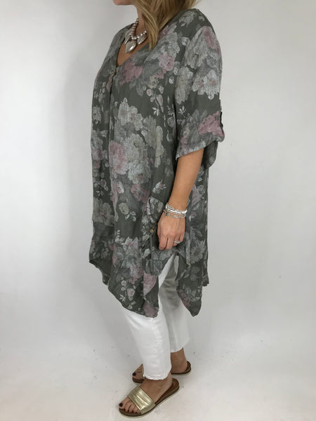 Lagenlook Baha Flower Print Linen Top in Khaki. code 5160