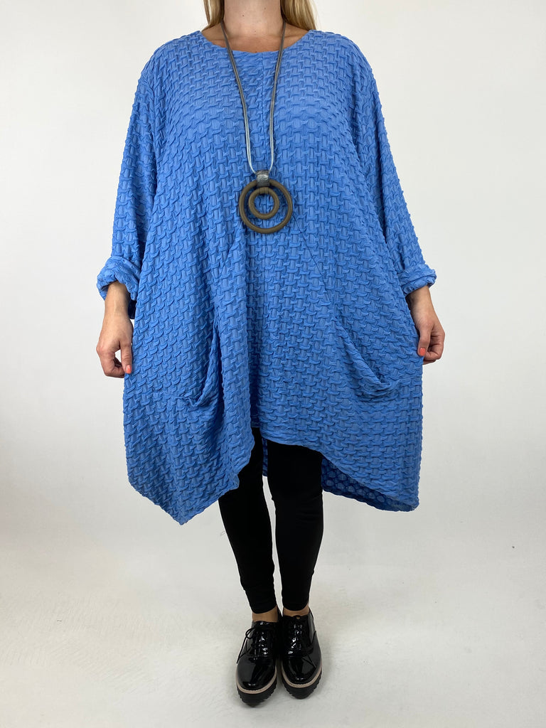 Lagenlook lottie Textured Large Waffle Parachute Hem Tunic In Cotton Blue. code 91122 - Lagenlook Clothing UK