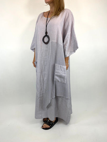 Lagenlook Emma Mesh Panel Linen Tunic in Pale Grey . code 87001