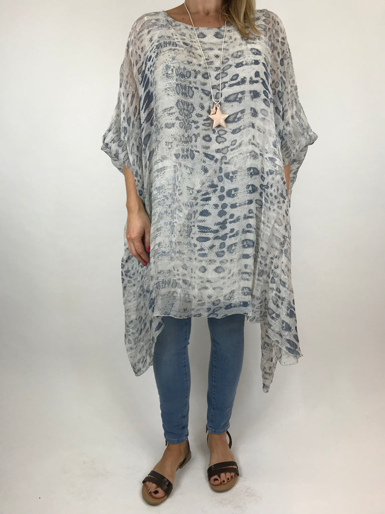 Lagenlook Snake Print Silk Poncho Top in Cream. code 1727s