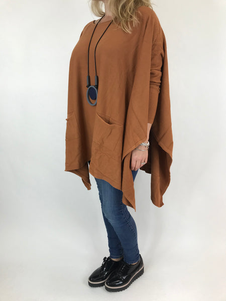 Lagenlook Knitted Poncho In Tan. code 16024