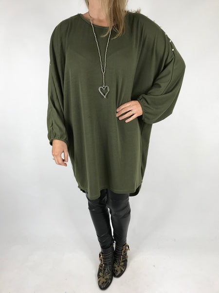 Lagenlook Pearl Sleeve Tunic in Khaki.code 1267
