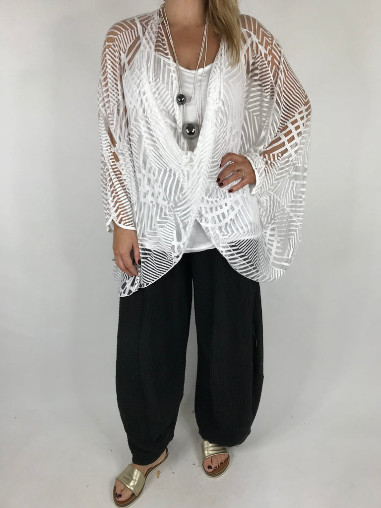 Lagenlook Cross-over Burn out Tunic in White. code 18574