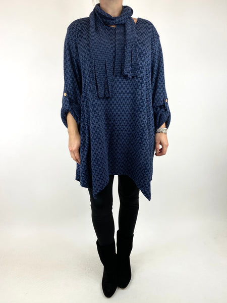 Lagenlook Zig -Zag  Scarf Top in Denim. code 6188