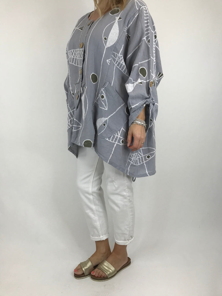 Lagenlook Quirky Patterned Linen Blend Top Jacket in Pale grey. code 39112