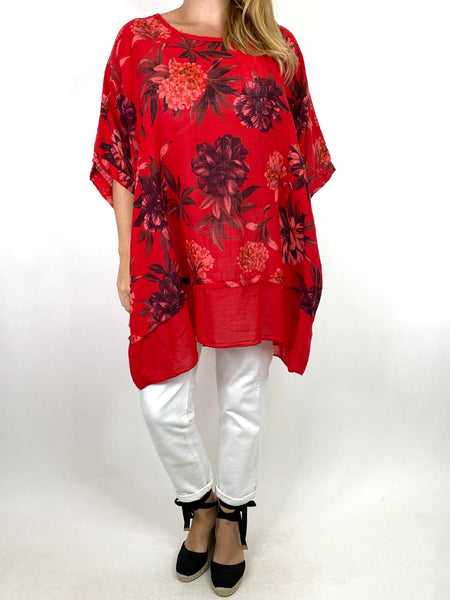 Lagenlook Aster Tropical Flower Top in Red. code 89420