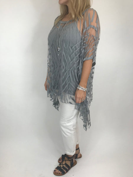 Lagenlook Lazer Cut Net Layering Top in Mid Grey. code 18042