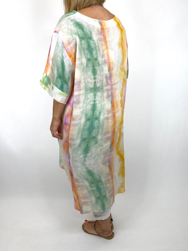 Lagenlook  Bernie Tie-Dye Linen Tunic in Lilac/Green Mix . code 9611 - Lagenlook Clothing UK