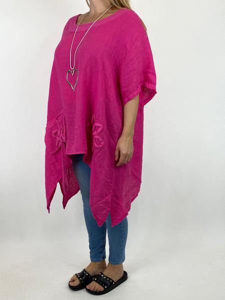 Lagenlook Kim Waffle Flower Pocket Top in Fuchsia. code 91086 - Lagenlook Clothing UK